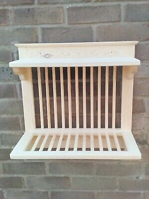 WOODEN HANDMADE PLATE RACK WALL MOUNTED 50 Cm Wide P&P Included • 55£