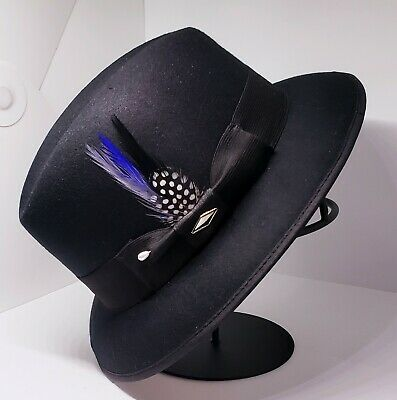 $42 • Buy Mens Felt Black Lowrider Center Crease  Hat Fedora Derby Blue Rooster Feather