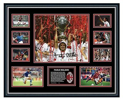 AU99.99 • Buy Paolo Maldini Ac Milan Italy Signed Poster Limited Edition Framed Memorabilia