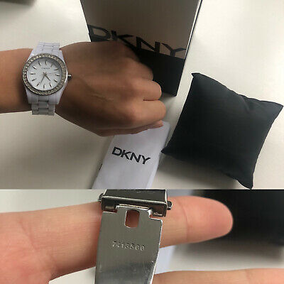 DKNY Ladies Watch White Crystal Case Lightweight Genuine RRP£159 • 60£