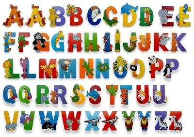 £1.60 • Buy Personalised Kids Jungle Animal Wooden Uppercase Alphabet Letters Self Adhesive