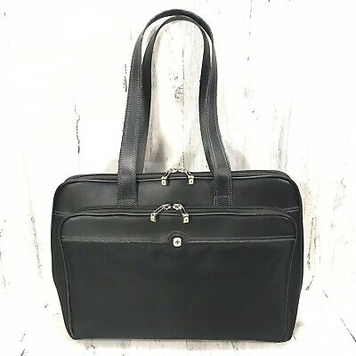 Swiss Wenger Black Leather Laptop Purse Tote Bag • 28.62£