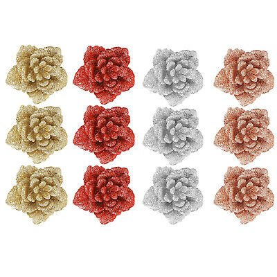 Snow White Set Of 3 Glitter Flowers With Clip Christmas Tree Decorations • 3.99£