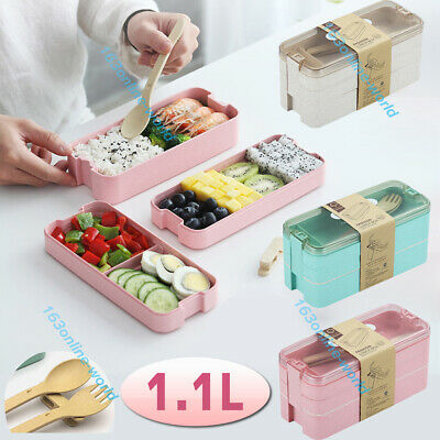 AU12.99 • Buy 1.1L 3-Layer Bento Box Students Lunch Box Eco-Friendly Rectangle Food Container