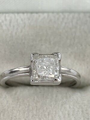 18ct White Gold Diamond Princess Cut 1.03 Carat Solitaire Ring Certificate • 1,125£