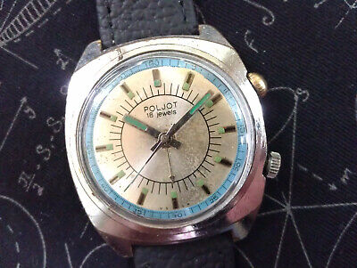 Rare Vintage USSR Poljot Alarm Signal 2612.1 18 Jewels Men's Russian Wrist Watch • 29£