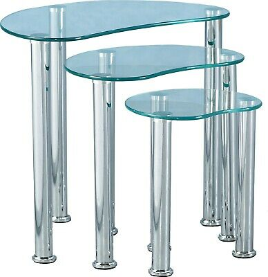 Cara Nest Of Tables Clear Glass Silver • 49.99£