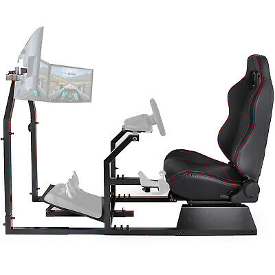 GTA-F Racing Simulator Cockpit Gaming Seat With Monitor Stand Carbon Steel • 299.99£