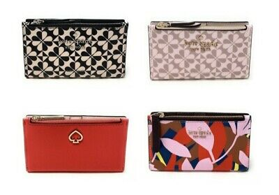 $ CDN68.14 • Buy Kate Spade Small Slim Bifold Wallet Clover Jackson Credit Card Holder