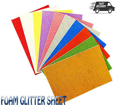 10 Pack A4 Glitter Foam Sheets Kids Art Craft Assorted Colours Self Adhesive • 2.48£