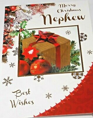 Nephew Christmas Card. Best Wishes Theme. Northern Lights Cards  • 1.55£
