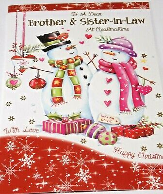 Brother & Sister-in-Law Christmas Card. Snowmen Theme. Northern Lights Cards  • 1.55£