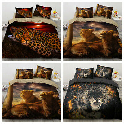 AU77.36 • Buy 3D Print Wild Cheetah Animal Duvet Cover Quilt Cover Bedding Set Double King