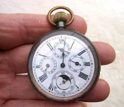 £550 • Buy Moon Phase Calendar Antique Pocket Watch From The 1800's.