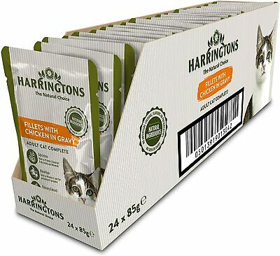 Harringtons Complete Wet Cat Food Chicken Or Salmon In Gravy 24 Pouches X 85 G • 11.78£