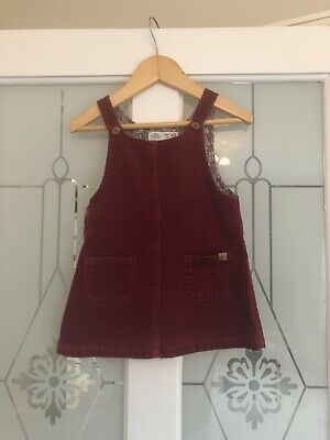 Zara Baby Girls Burgundy / Floral Lined Cord Pinafore Dress 12-18 Months VGC • 2.20£