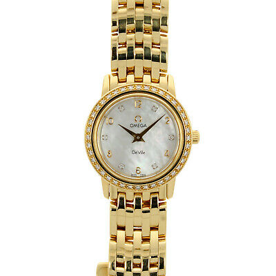Ladies Omega De Ville Prestige 18ct Yellow Gold Diamond Set 41757500 • 5,950£