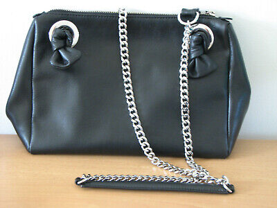 M&S Autograph Real Leather Shoulder Bag Black Leather Metal Chain Strap • 15£