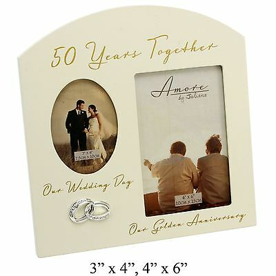 £13.97 • Buy 50th Anniversary Golden Wedding Cream Photo Frame - 50 Years Together Amore
