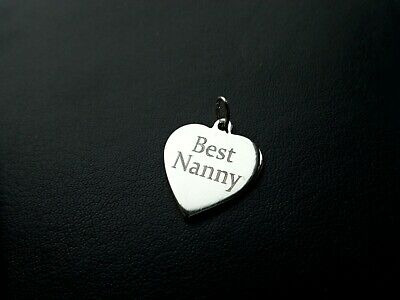 £9.50 • Buy BEST NANNY HEART CHARM 925 STERLING SILVER Dangle Clip Jump Ring FREE ENGRAVING