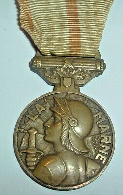 Medals-original French/france Ww1 Marne Medal (for Both Battles) • 80£