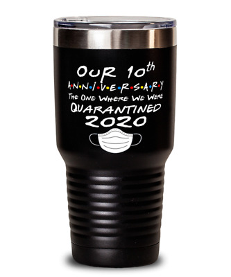 10th Anniversary Gift Tumbler For Him Or Her Quarantined 2020 Pandemic 20oz Funn • 23.54£