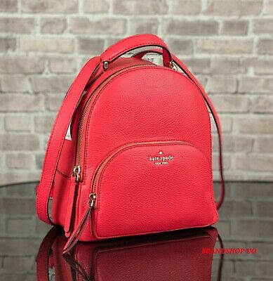 $ CDN137.84 • Buy Kate Spade New York Jackson Md Pebbled Leather Backpack Shoulder Bag $359 Red