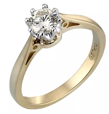Stunning H.Samuel 18ct Gold 0.50 Solitaire Diamond Engagement Ring Size O £2,250 • 410£