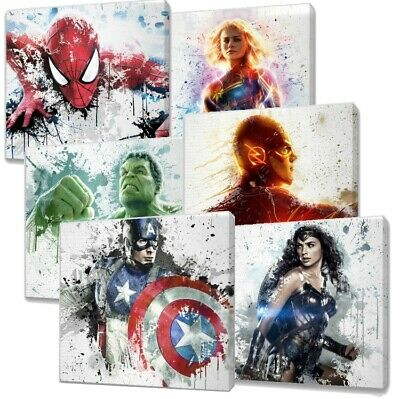 £12.99 • Buy Marvel & Dc Characters Paint Splatter Canvas Wall Art Over 20 Designs You Choose