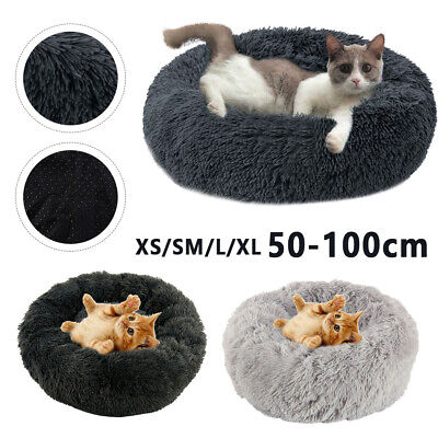 S-XXL Pet Dog Cat Mattress Calming Bed Comfy Shag Fluffy Warm Bed Nest Donut Pad • 18.49£