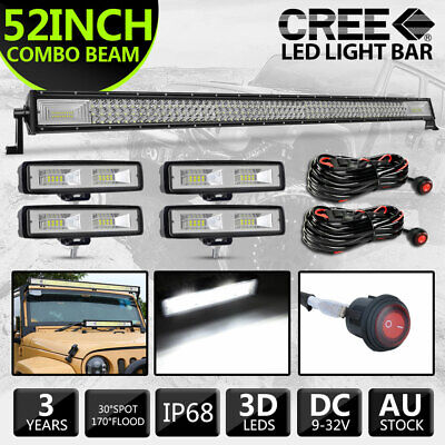 AU175.99 • Buy 50 Inch LED Light Bar Curved Combo Beam Work Driving Lamp +4x 6  LED Work +Wires