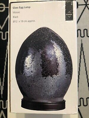 Mosaic Egg Lamp In Charcoal/Black - New In Box - Desk, Bedside Or Living Room • 14£