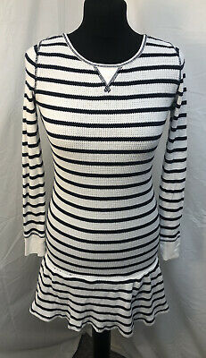 Polo Ralph Lauren Striped Waffle Cotton Long Sleeve Frill Dress Age 8-10 (M) New • 15£