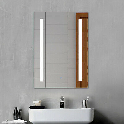 LED Illuminated Bathroom Mirror With Demister Touch Sensor Control Wall Vertical • 64.99£