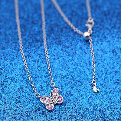 New 50cm S925 Pandora Dazzling Pink Butterfly Pendant Necklace • 23.09£