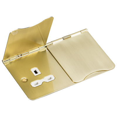 Knightsbridge Polished Brass 13A 2G Unswitched Socket Floor With White Insert • 12.50£