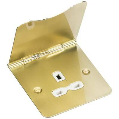 Knightsbridge Burshed Brass 13A 1Gang Floor Socket  Unswitched IP20  • 10.50£