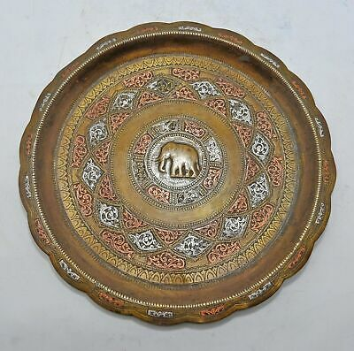 £142.58 • Buy Antique Brass Round Decorative Silver Copper Inlay Plate Original Old Engraved