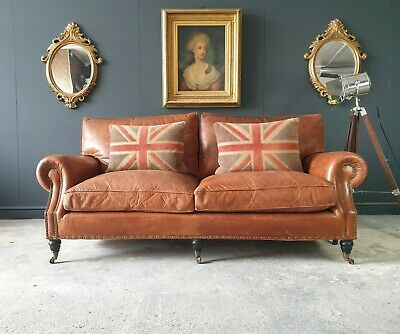 2.timothy Oulton Halo Vintage Tan Leather Three Seater Chesterfield Sofa 🚚 🇬🇧 • 1,200£
