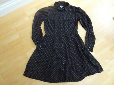 H&M Ladies Black Red Polka Dot Dress Long Sleeve Fit & Flare UK 10 EXCELLENT CON • 5.50£