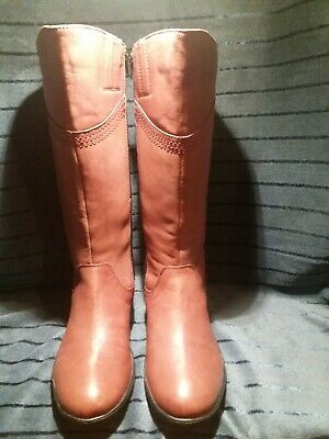 Brand New Ladies Pavers Tan Leather Faux Fur Lined Calf Length Boots Size 5  • 25£