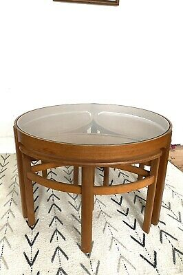*nathan* Mid Century/ Vintage Teak Trinity Glass Coffee Table/nest Of Tables • 220£