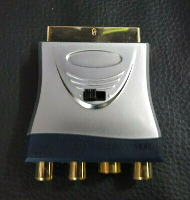 SCART To 3 RCA Composite Phono S-Video Adaptor Converter In Out Switched GOLD • 9.50£