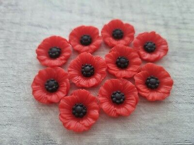 10 Poppy Cabochons-18mm-resin Flatback Cabochon-decoden-red Poppies-flowers • 6£