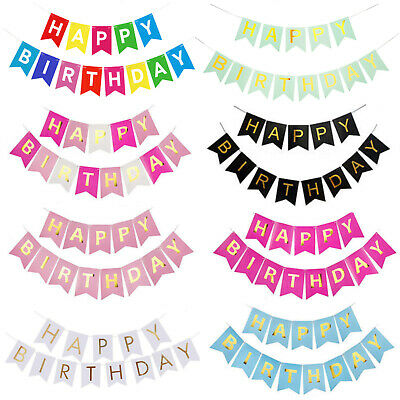 £3.29 • Buy Happy Birthday Bunting Banner - Pastel Hanging Letters Party Decoration Garland