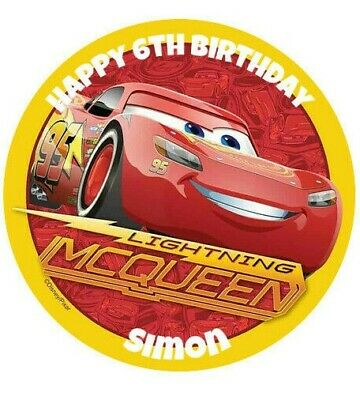 Lightning Mcqueen Unofficial Personalised 8  Cake Topper Birthday Edible Round • 3.75£