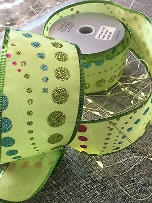 Gisela Graham Christmas Ribbon Apple Green Spotty  - 63mm X 9 Mtrs Wired. New • 12£