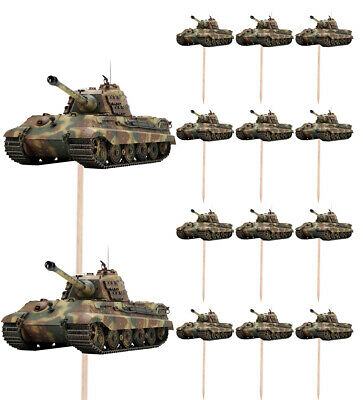 £4.99 • Buy Army Tank Birthday Cupcake & Party Food Toppers Decorations Picks 14 Pack