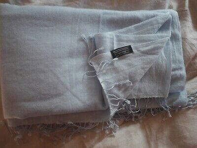 The Wool Company Baby Powder Blue Pure Fine 100% Cashmere Scarf Pashmina Unused • 11£