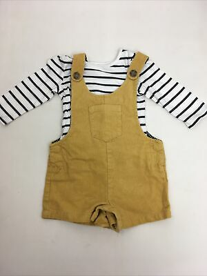 MOTHERCARE Dungarees Cord Corduroy Mustard Yellow Girls Age 6-9 Months Outfit • 0.99£